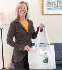 Cheryl Herrmann with the Norwich Welcome bag