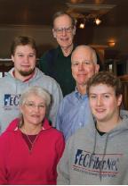Norwich residents, Irv Thomae, Corey Klinck, Stan Williams, Katie Smith, Gavin Klinck of EC Fiber