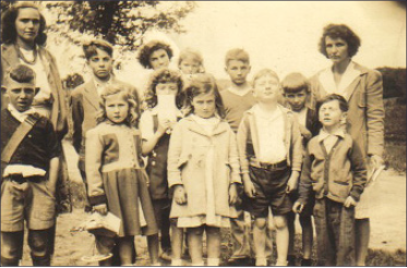 Helen E. Smith at Root School, third from left, with glasses