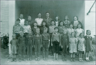 Alfred DeVaux at Pompanoosuc School, front row, fifth from left