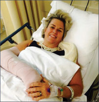 Dawn Carey after breaking her wrist in December 2014
