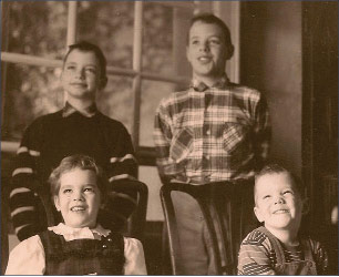 "Kate Emlen and her ""3 quirky brothers"" circa early 1960s"