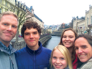 Neuman family selfie in Karlovy Vary, CZ, Mar 2015