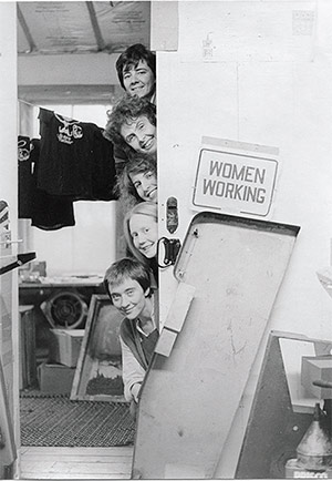 New Victoria Printers, circa 1976. Top to bottom: Beth Dingman, Claudia McKay Lamperti, Petey Becker, Bonnie Arnold, Rebecca Beguin