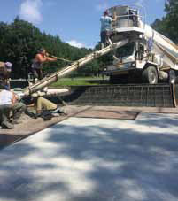 Pouring cement for the updated park