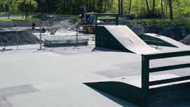 Old skatepark with wooden ramps in need of much repair
