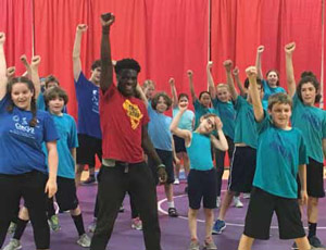 Mwansa leading the finale for Norwich Rec Department Summer Circus Camp (Director, Ted Lawrence)