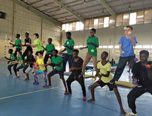 Training at the Olympic Youth Development Center in Lusaka, Zambia