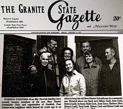 Root District Game Club supporters from 1975, the last time major work on the schoolhouse's foundation was performed, in a photograph first published by the Granite State Gazette that year. Pictured in the back row (from left to right) are Sidney Cook, Irma Cook, Robert Ladd; in the front row are Ruth Cook, Jean Lawe, Barbara Ladd, and Fred Ladd. Jean Lawe remains active with the Game Club today.
