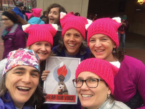 Cindy Pierce of Etna, NH; Norwich resident, Kristin Brown; Elizabeth Keene of Springfield, NH; Laurie Harrington of Walpole, NH; and Andrea Johnstone of Plainfield, NH unite as women with a voice.