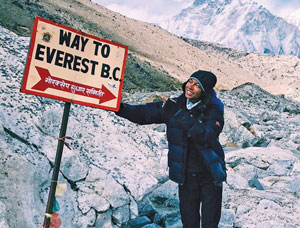 Gabby at the beginning of her trek to the Everest Base Camp