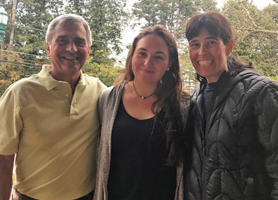 Sophie with her father, Jim, and her stepmother, Amy Tuller