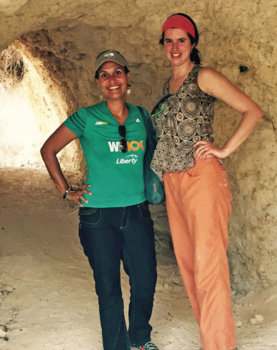 Meghan Wilson (right) poses with her friend Noelia in Puerto Rico
