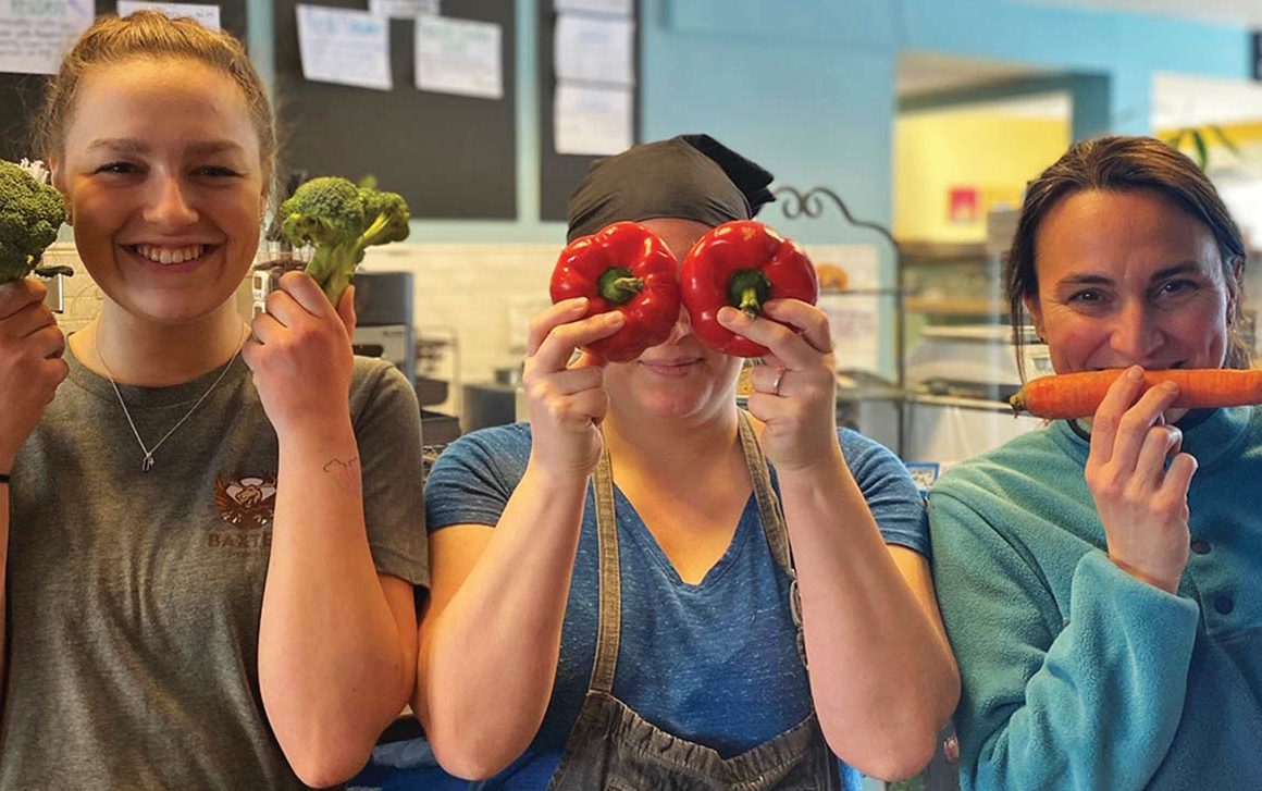 Blue Sparrow Kitchen staff Gracie Rollins, Hannah McMinn, and owner Amber Boland