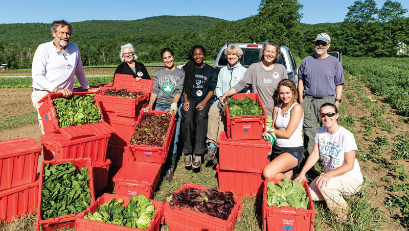 Gleaning volunteers with leaders, Carolyn and Milt Frye, at Crossroad Farm in Post Mills. Pictured: Milton Frye, Veronique Officer, Marianne Lillard, Niame Daffe, Carolyn Frye, Amy Klevitch, Jessica Chadwell, Charlie Lindner, Jennifer Boeri-Boyce