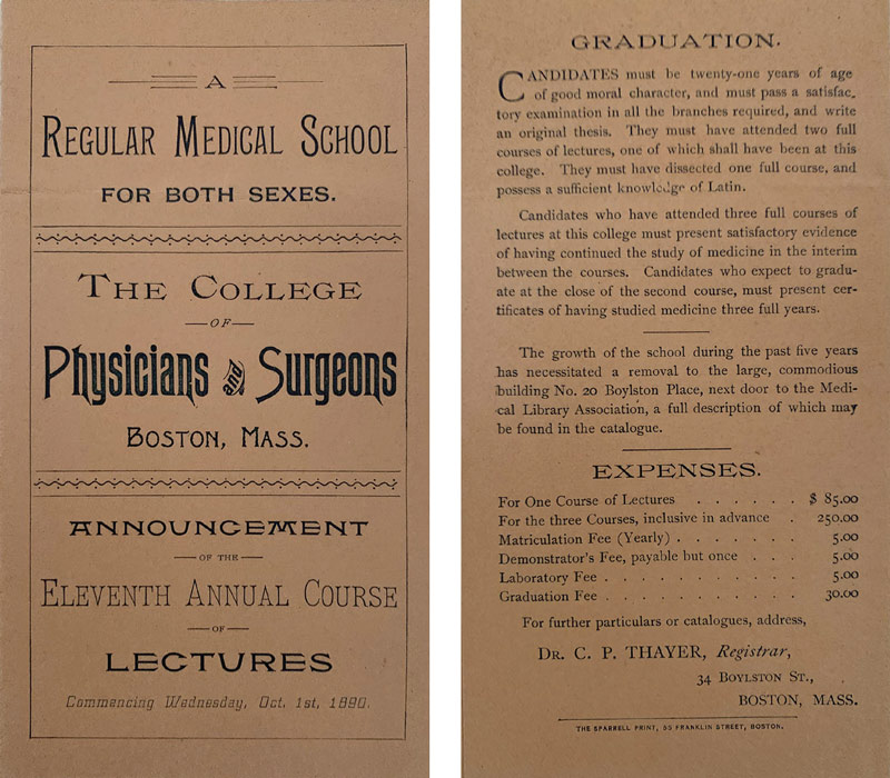 Medical School catalog from 1890 listing expenses for medical education